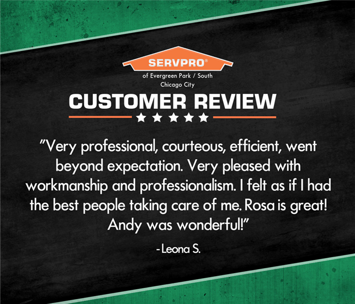 Black and green graphic with customer testimonial text